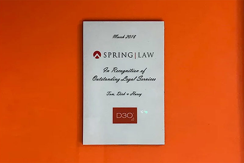 Spring Law recognised for outstanding legal services