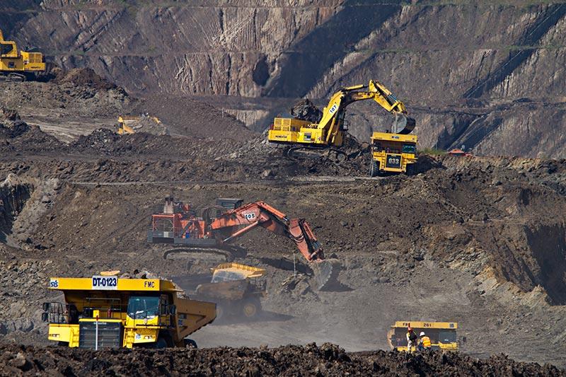 Excavators in mining area