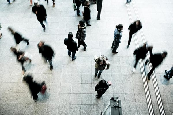 Train station commuters